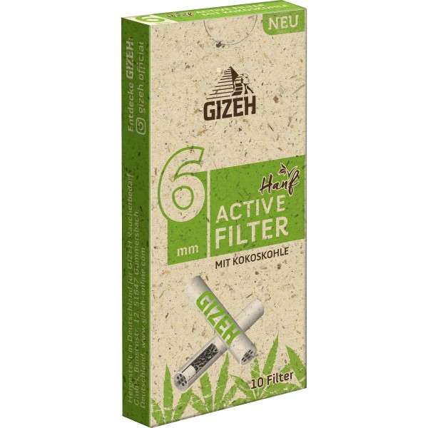 GIZEH Aktivkohlefilter 6 mm HANF (10 Filter)